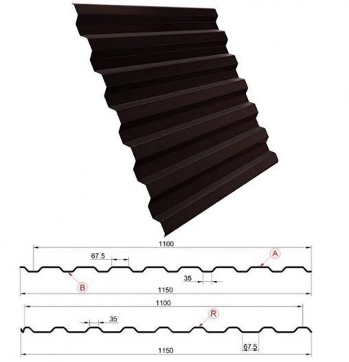 Металлопрофиль МП20 на забор, 8017 шоколадно-коричневый