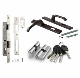 Комплект врезного замка для калитки (замок, ответная планка, ручки, цилиндр, 5 ключей)