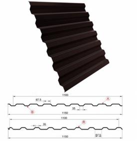 Профнастил МП20 заборный, 2 метра 8017 шоколадно-коричневый